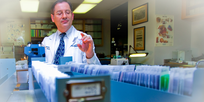Hans Grossniklaus, MD, MBA, in Montgomery Laboratory at Emory Eye Center